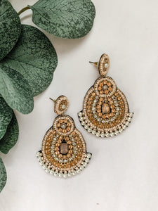 Peach & Gold Beaded Earrings