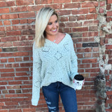 Sage Popcorn V Neck Sweater