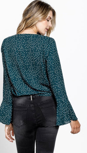 Hunter Green Dotted Flared Sleeve Blouse