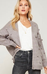 Grey Pom Pom Open Front Cardigan