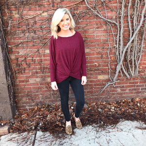 Burgundy Front Knot Top
