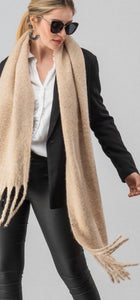 Ivory Heathered Soft Knit Scarf