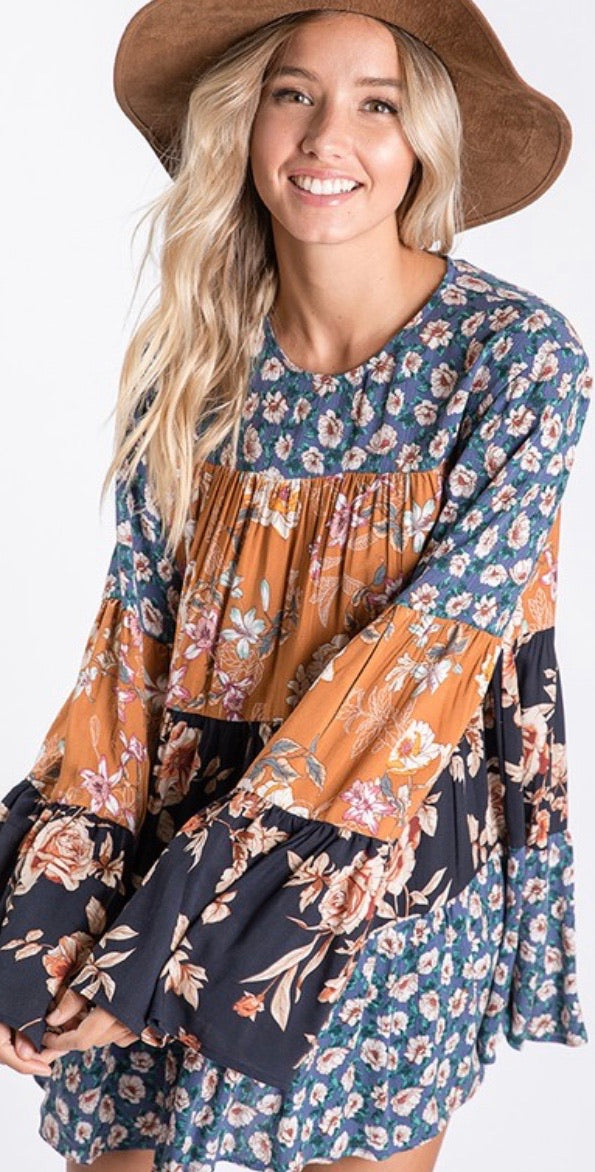 Multi Print Floral Boho Tunic Top