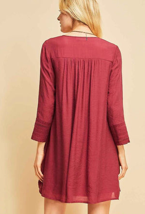 Burgundy Buttoned Detailed Dress