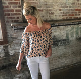 Peach Leopard Print Ruffle Sleeve Top