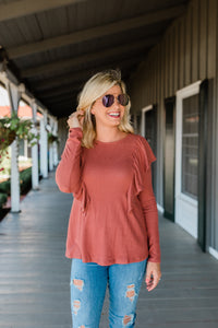 Cinnamon Long Sleeve Top with Ruffle Accent