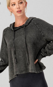 Black Washed Cropped Hoodie