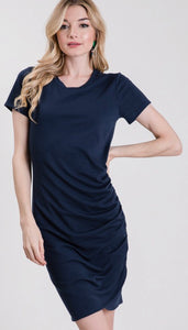 Navy Fitted Side Rouched Dress