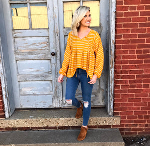 Mustard Striped Babydoll Blouse