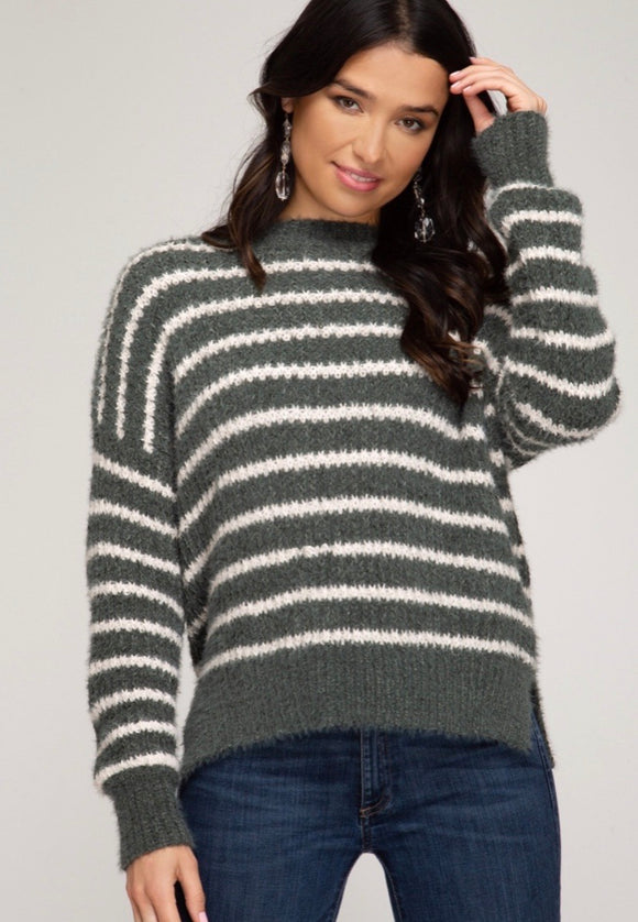 Olive Striped Fuzzy Sweater
