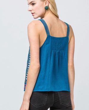 Teal Detail Embroidered Tank