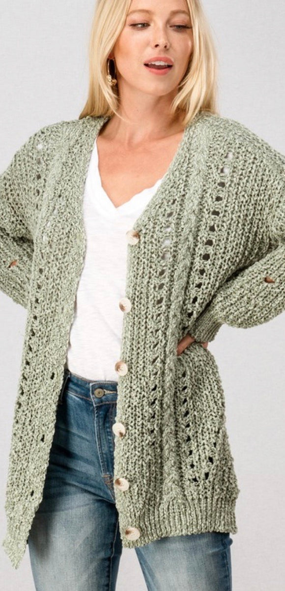 Sage Chunky Open Knit Button Cardigan