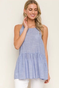 Light Blue High Neck Peplum Tank