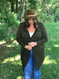 Extended Sizing:: Olive Draped Cardigan