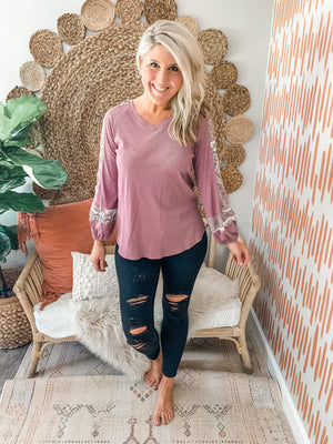 Dusty Mauve Printed Sleeve Top
