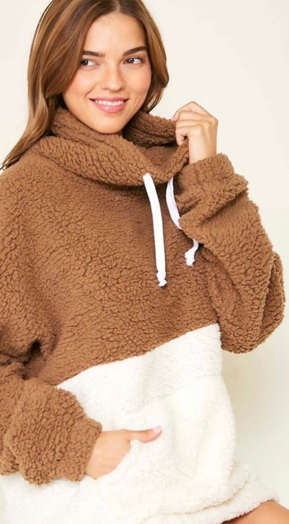 Mocha/Ivory Colorblock Pullover