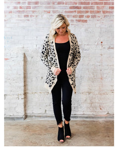Leopard Open Cardigan with Buttons