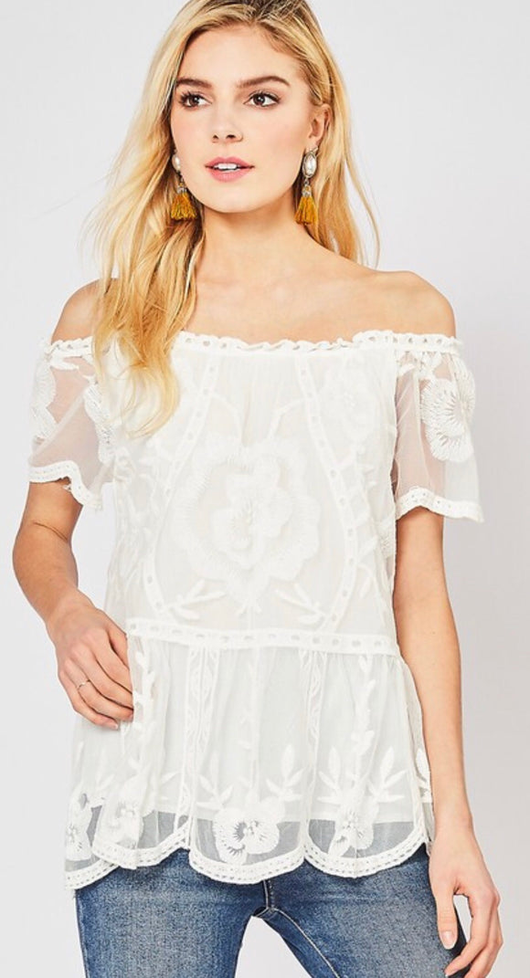 Off White Lace Off the Shoulder Top