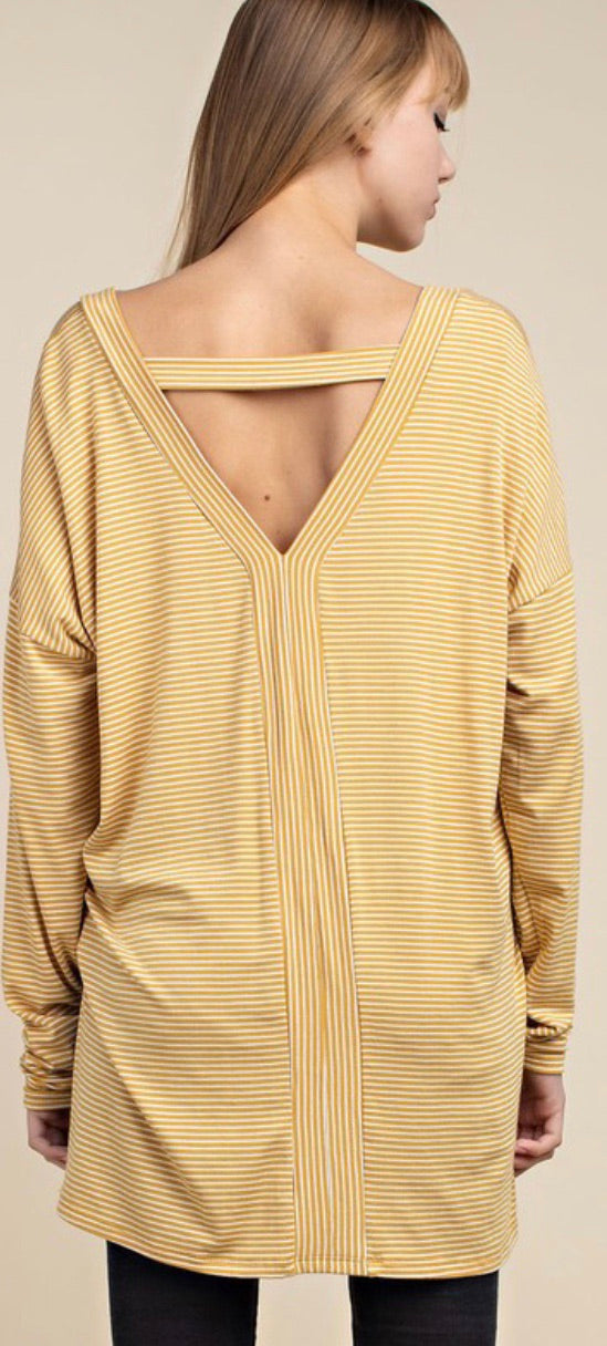 Mustard Striped Back Cutout Tunic
