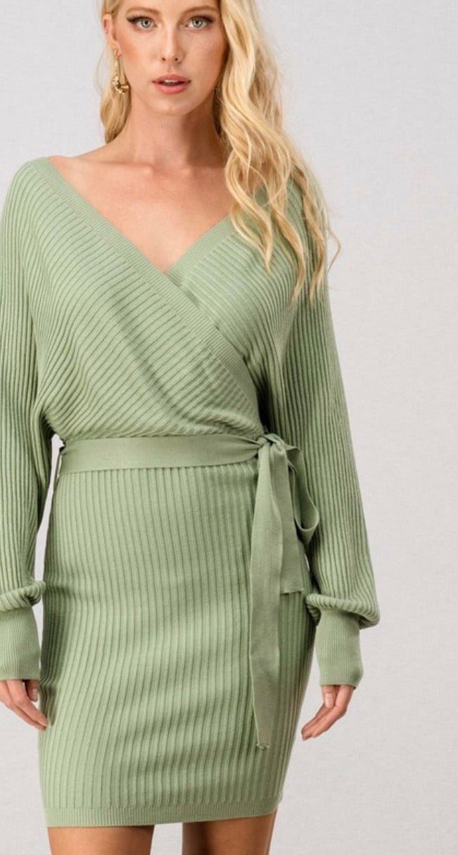 Mint Fitted Wrap Dress