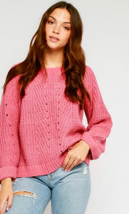 Pink Roll Sleeve Sweater