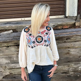 Ivory Floral Embroidered Blouse