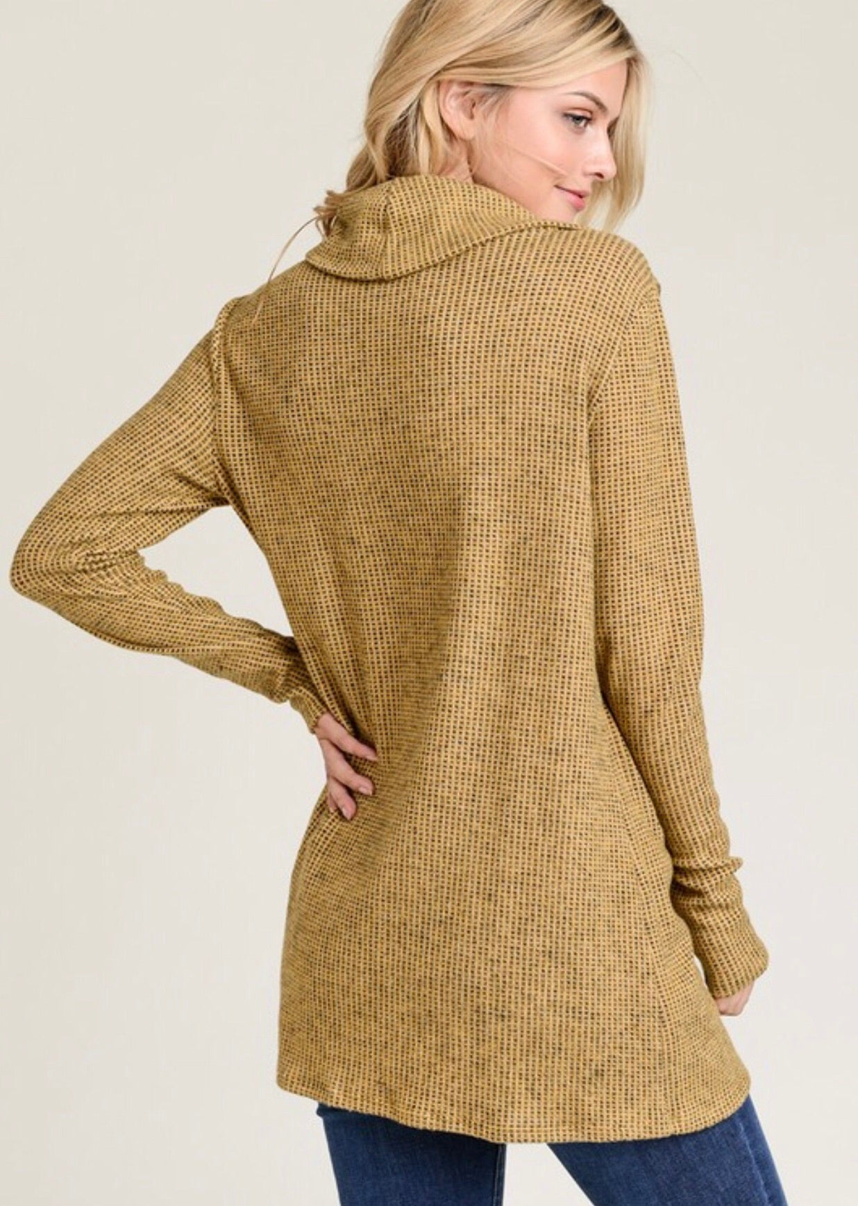 Mustard 2-Toned Brushed Knit Sweater