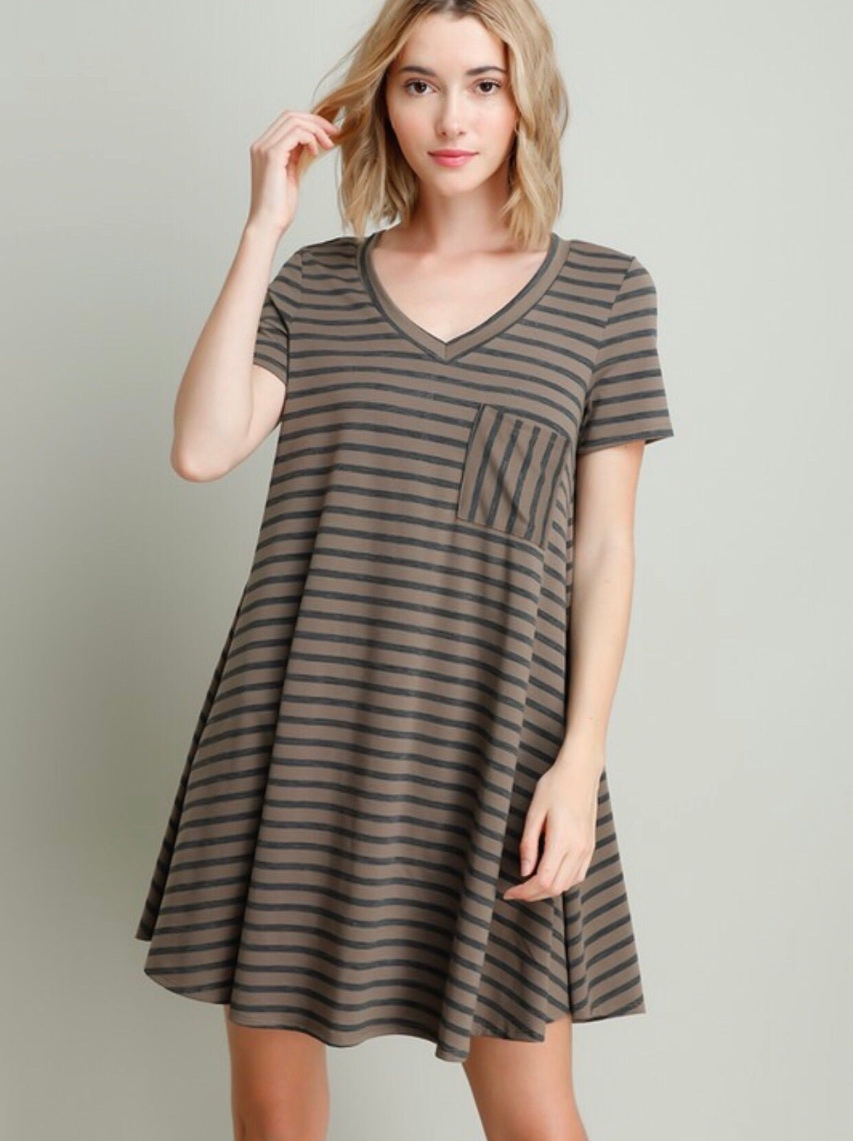 Mocha Striped Pocket Dress