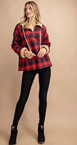 Plaid Half Zip Lined Pullover