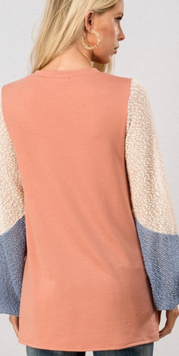 Coral Popcorn Sleeve Colorblock Top