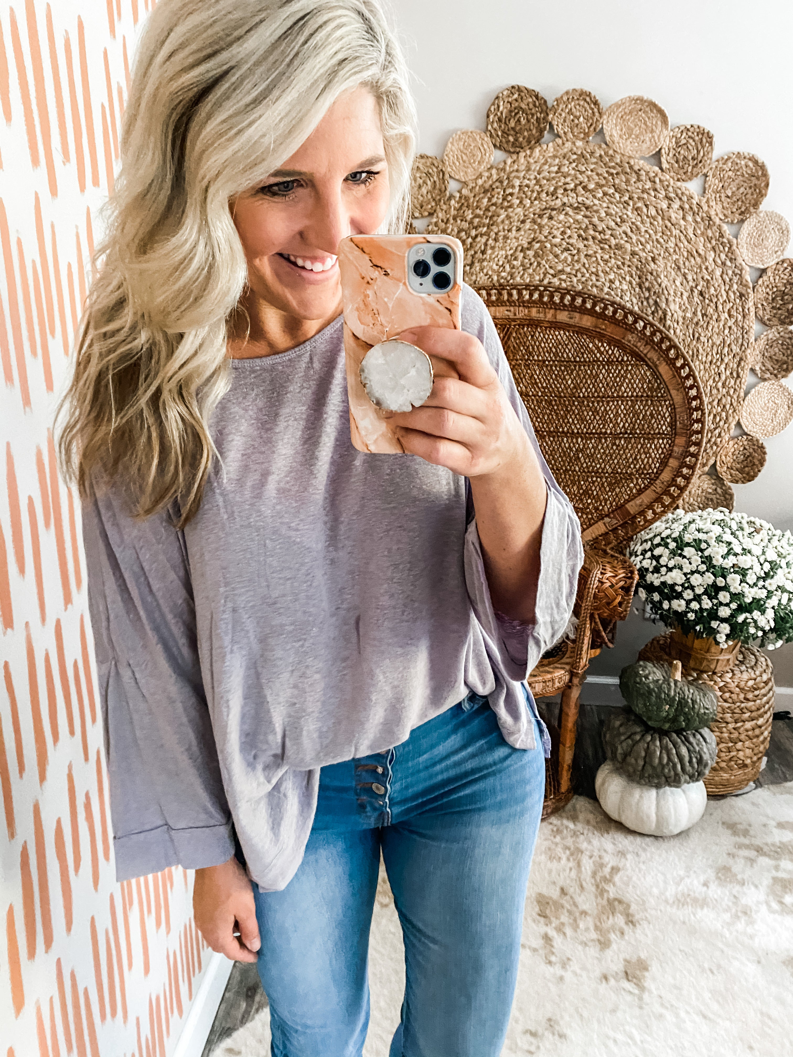 Lilac Grey Wide Sleeve Top
