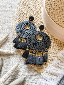 Black Tassel Wood Earrings