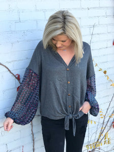 Charcoal Printed Sleeves Thermal