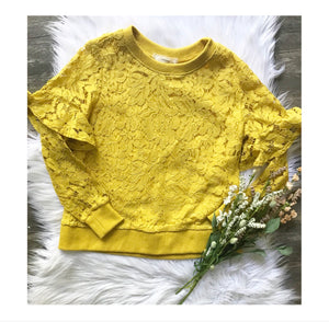 Mustard Lace Ruffle Shoulder Sweatshirt