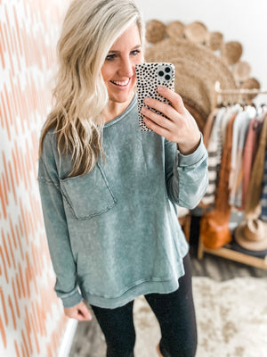 Faded Teal Oversized Pullover