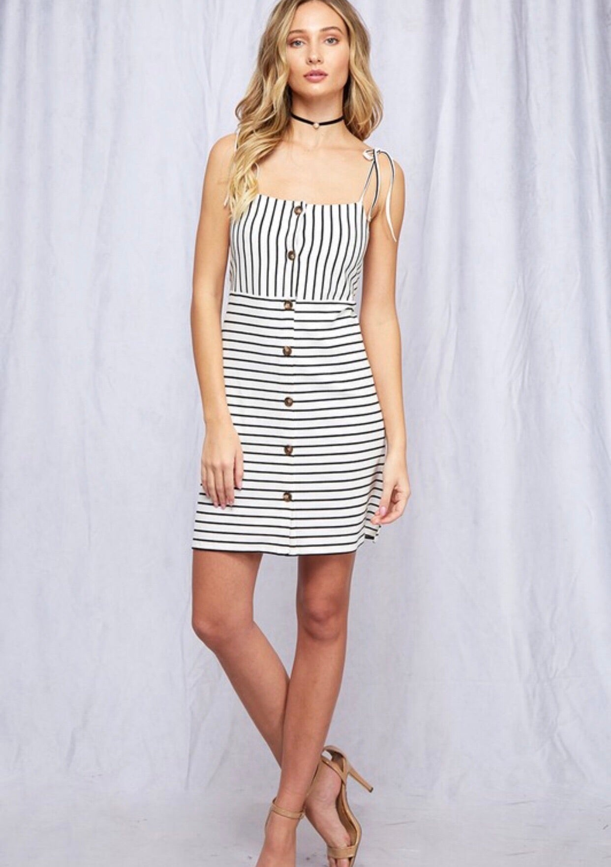 Striped Button Detailed Tie Dress