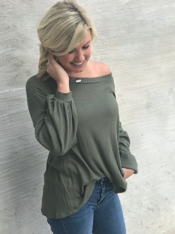 Olive Waffle Knit Balloon Sleeve Top