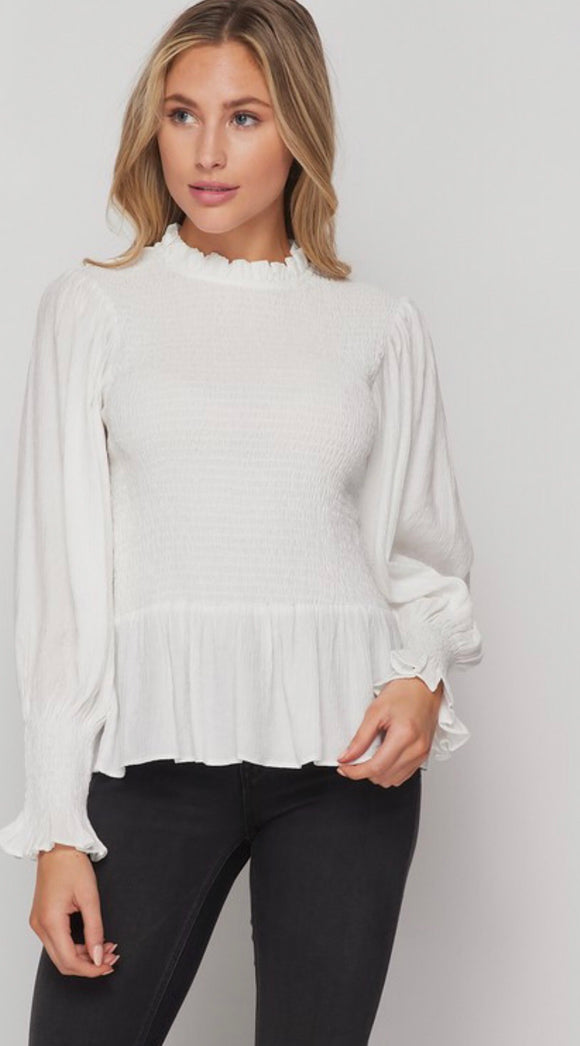 Ivory Smocked Peplum Top
