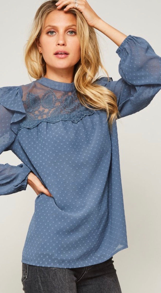 Baby Blue Swiss Dot Peasant Blouse