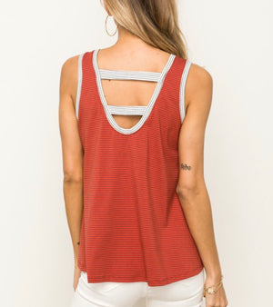 Rust Striped Double Strap Top