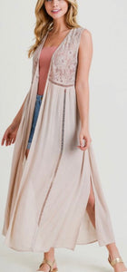 Taupe Lace Detail Duster