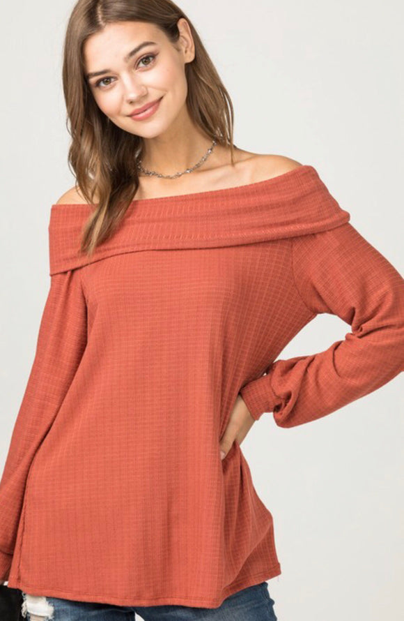 Rust Waffle Knit Off The Shoulder Bubble Sleeve Top