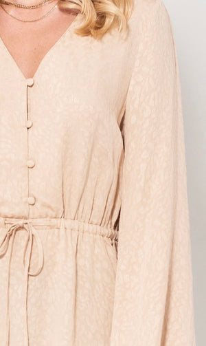 Natural Leopard Button Detail Blouse