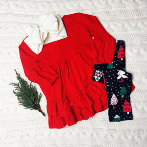 Red Ruffle Christmas Tree Legging Outfit