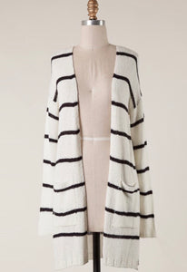 Black & White Striped Pocket Cardigan
