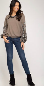 Mocha Waffleknit Statement Sleeve Top