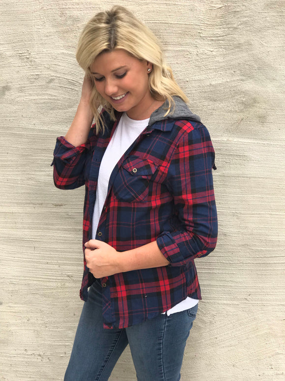 Navy/Red Plaid Hooded Top