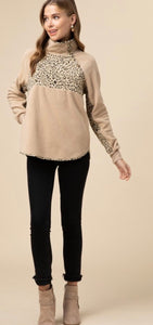 Taupe Leopard Print Pullover