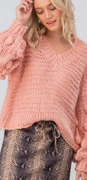 Pale Pink Chunky Pom Sweater