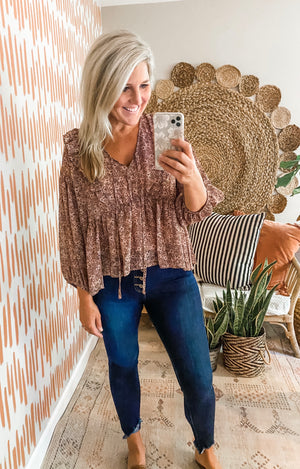 Dusty Blush Floral Tie Front Top
